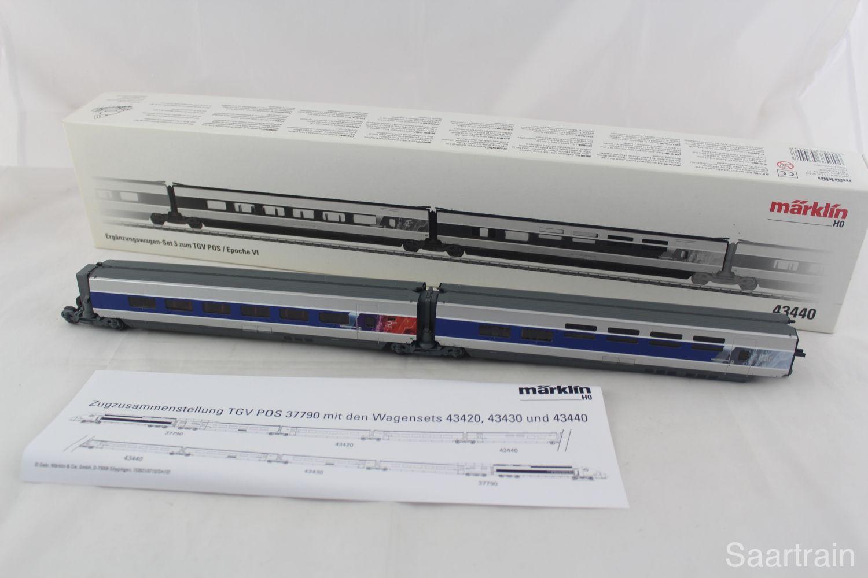 Märklin 43440 TGV Ergänzungswagen Set 3 der SNCF in silber ...